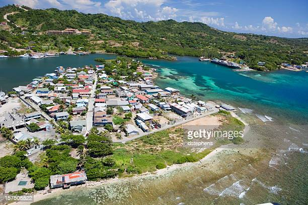 Aerial view of Caribbean island village