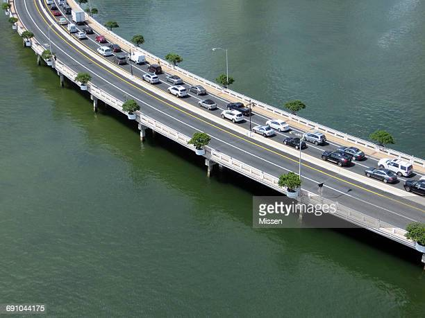 Aerial view of cars driving along road, Miami, Florida, America, USA