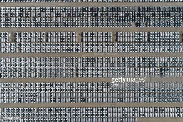 Aerial view of cars line up at an automobile factory on November 26 2017 in Xiangyang Hubei Province of China