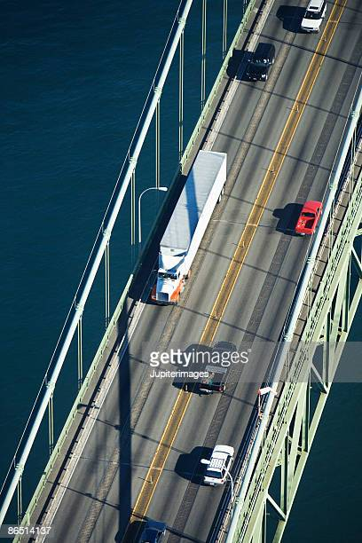 Aerial view of cars on Narrows Bridge