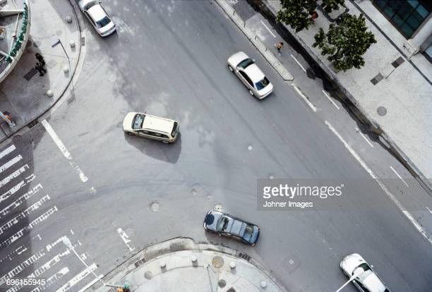 Aerial view of cars on street