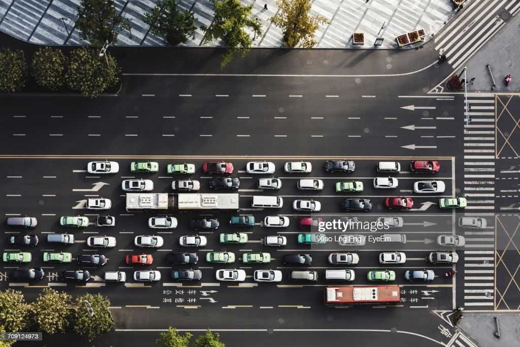 Aerial View Of Cars On Street : Stock Photo