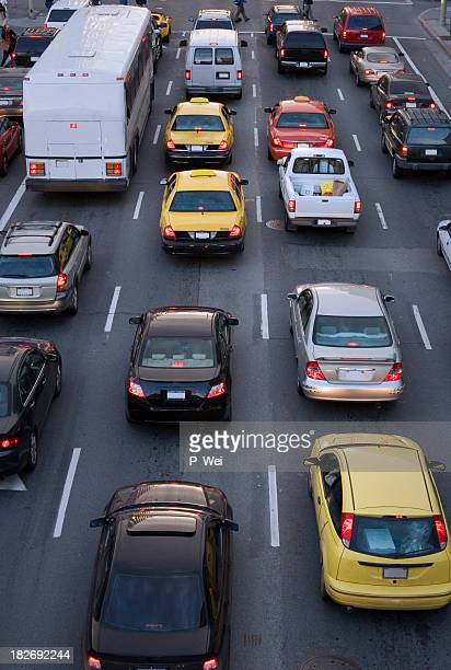 Aerial view of cars on the street during traffic