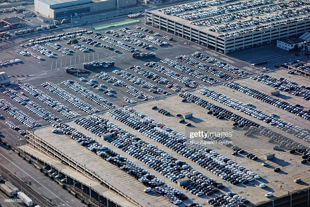 Aerial View Of Cars Parked In Parking Lot : Stock Photo