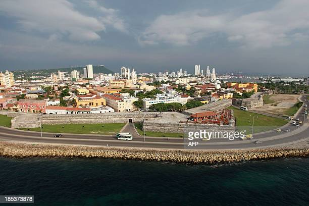 Aerial view of Cartagena Colombia on October 19 2013 Cartagena will host the 82nd Interpol General Assembly between October 21 and 24 AFP...