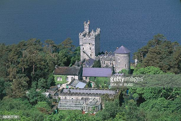 Aerial view of castle at Lough Beagh lake Glenveagh National Park County Donegal Ireland