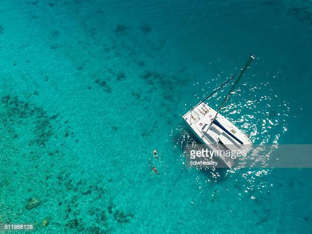 aerial view of catamaran anchored in tropical caribbean - catamaran stock photos and pictures