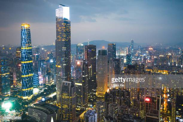 aerial view of cbd in guangzhou - liyao xie stock pictures, royalty-free photos & images