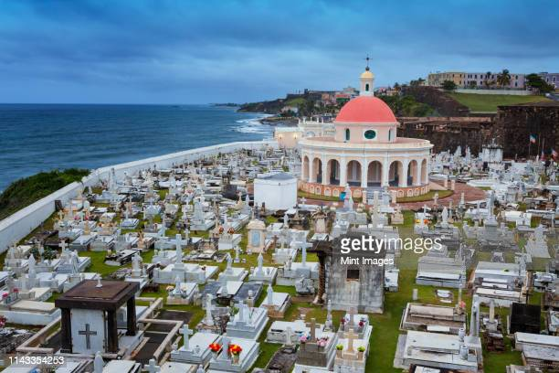 aerial view of cemetery in san juan, puerto rico - old san juan stock pictures, royalty-free photos & images