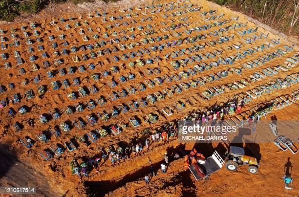 TOPSHOT Aerial view of cemetery workers unloading a coffin from a truck at an area where new graves have been dug at the Parque Taruma cemetery...