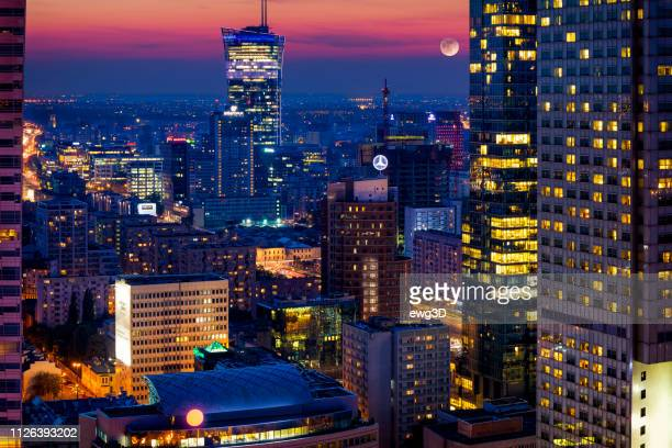 aerial view of center of warsaw in the evening, poland - warsaw stock pictures, royalty-free photos & images