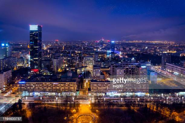 aerial view of center of warsaw in the evening, poland - mazowieckie stock pictures, royalty-free photos & images