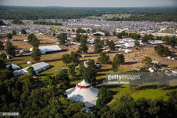 Aerial View of Centeroo and Camping during the 2014 Bonnaroo Music Arts Festival on June 15 2014 in Manchester Tennessee