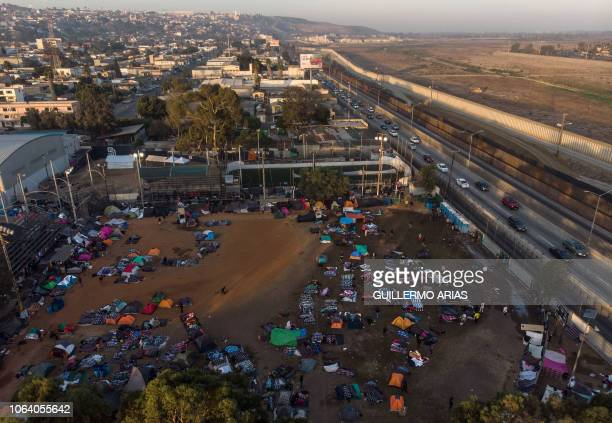 Aerial view of Central American migrants mostly from Honduras moving towards the United States camping in a makeshift shelter near the USMexico...