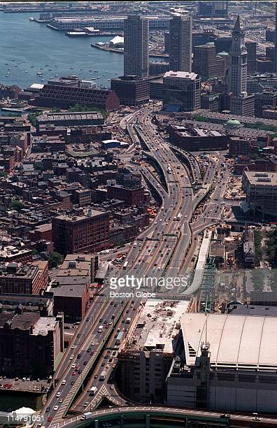 Aerial view of central artery with the FleetCenter in the foreground expressway construction downtown The North End visible to left