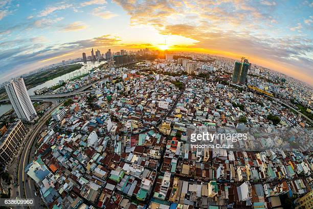 Aerial view of central district of Ho Chi Minh city, drammatic sunset