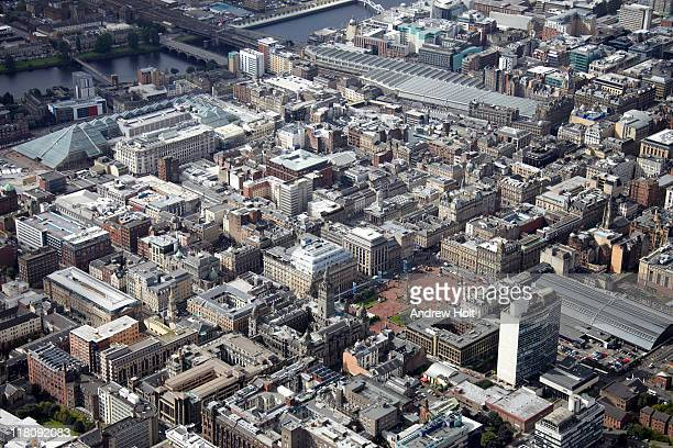 aerial view of central glasgow, scotland - glasgow scotland stock pictures, royalty-free photos & images