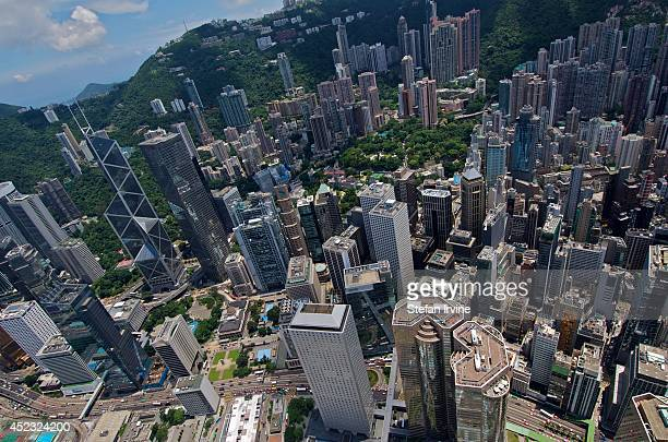 Aerial view of Central Hong Kong from the rooftop of IFC 2 including the Bank of China Tower the Cheung Kong Centre the HSBC headquarters the...