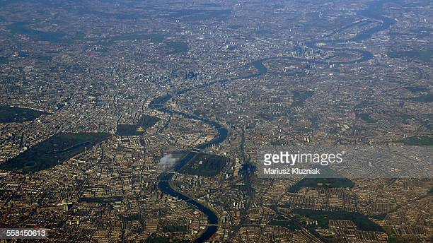 Aerial view of central London along river Thames