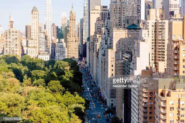 aerial view of central park and 59th street, new york, usa - アッパーイーストサイドマンハッタン ストックフォトと画像