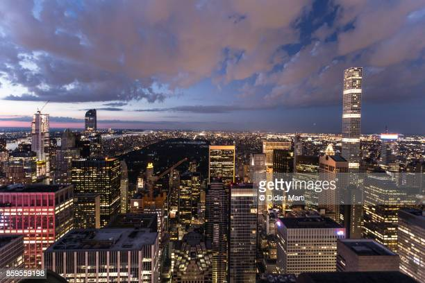 Aerial view of Central Park and New York city at night