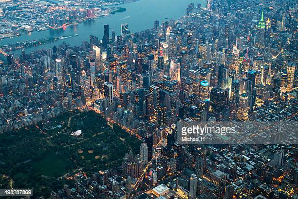 Aerial view of Central Park and skyscrapers, NY