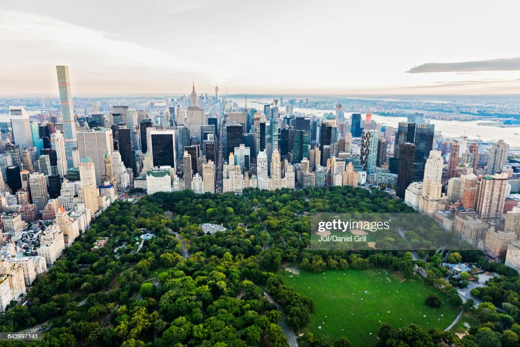 Aerial view of Central Park in New York City cityscape, New York, United States : Stock Photo