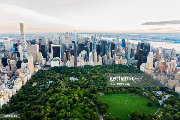 aerial view of central park in new york city cityscape, new york, united states - central park stock pictures, royalty-free photos & images