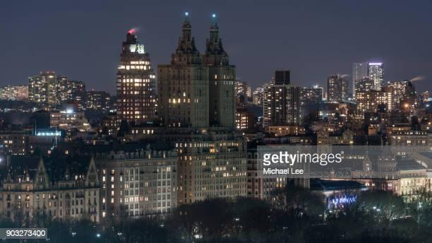 aerial view of central park west - new york - central park manhattan - fotografias e filmes do acervo