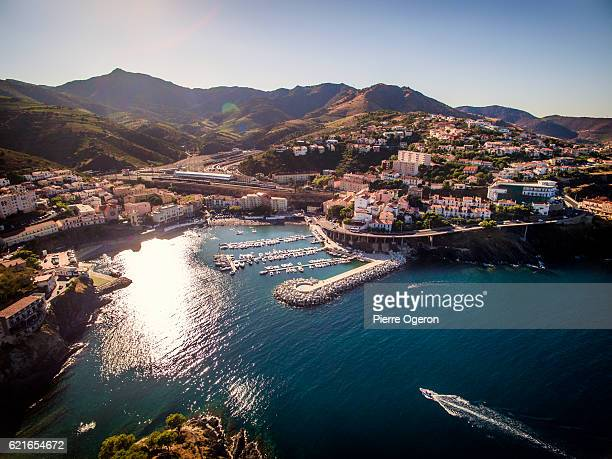 aerial view of cerbere, french village on the mediterranean shore - pyrénées photos et images de collection