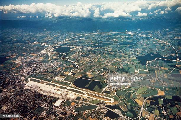 Aerial view of CERN and surrounding region Three rings are visible The smaller shows the underground position of the PS the middle ring is the SPS...