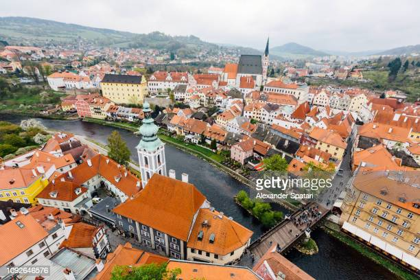 Aerial view of Cesky Krumlov cityscape, South Bohemia, Czech Republic