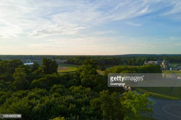 aerial view of chantilly - chantilly picardy stock pictures, royalty-free photos & images