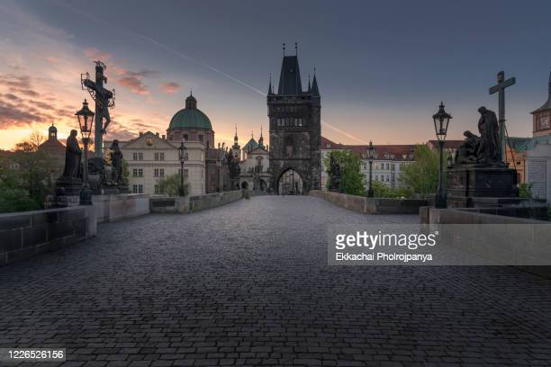 aerial view of charles bridge in prague, czech republic - april 24 ,2017 - charles bridge stock pictures, royalty-free photos & images