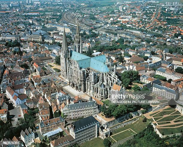Aerial view of Chartres with Cathedral of NotreDame Centre region France