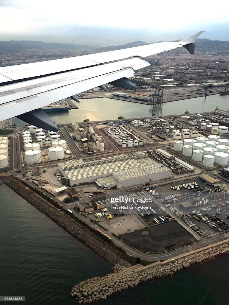 Aerial View Of Chemical Industry Seen Through Airplane Window : Stock Photo