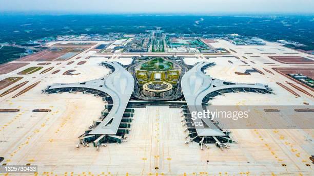 Aerial view of Chengdu Tianfu International Airport on May 16, 2021 in Chengdu, Sichuan Province of China.