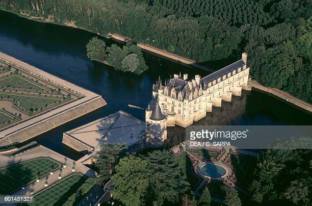 Aerial view of Chenonceau castle on the Cher river near Chenonceaux Loire valley Centre region France 16th century