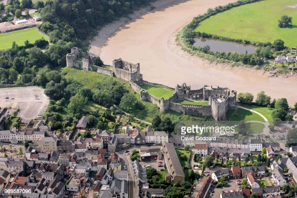 Aerial View of Chepstow Castle this 12th century welsh fortification is located on the southern banks of the River Wye just on the edge of Chepstow...