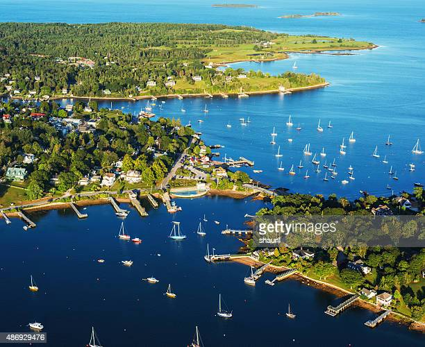 aerial view of chester nova scotia - atlantic ocean stock pictures, royalty-free photos & images