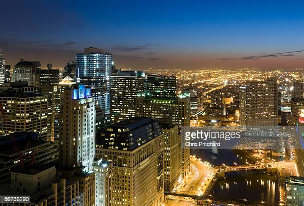Aerial View of Chicago at Dusk