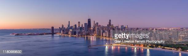 aerial view of chicago lake shore dr - panoramic shot - chicago stock pictures, royalty-free photos & images