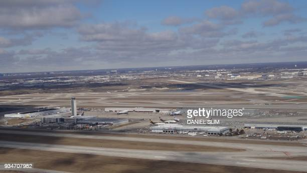 Aerial view of Chicago O'Hare International Airport on March 7 2018 / AFP PHOTO / Daniel SLIM