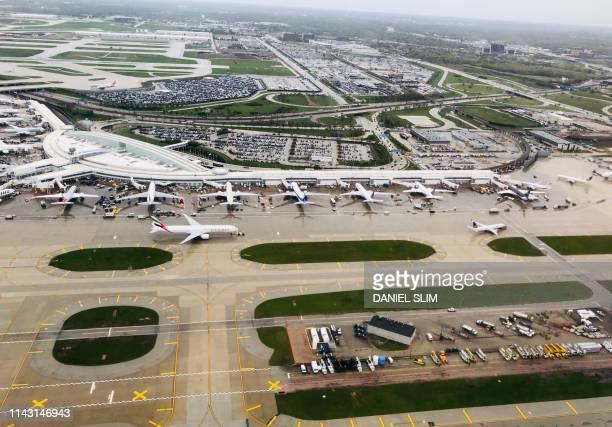 Aerial view of Chicago O'Hare International Airport on May 11 2019
