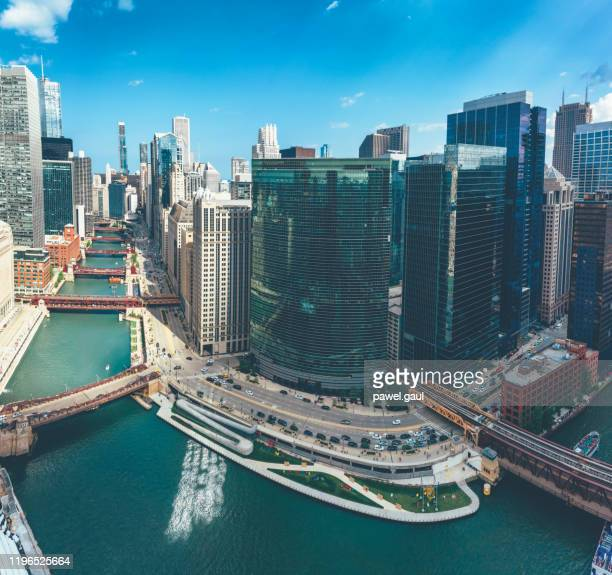 aerial view of chicago river with skyline - chicago river stock pictures, royalty-free photos & images
