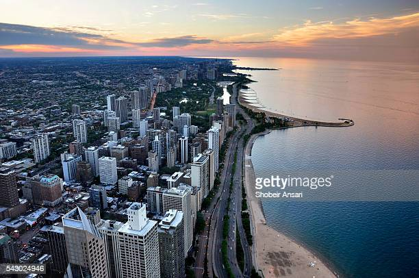 Aerial view of Chicago shoreline at sunset
