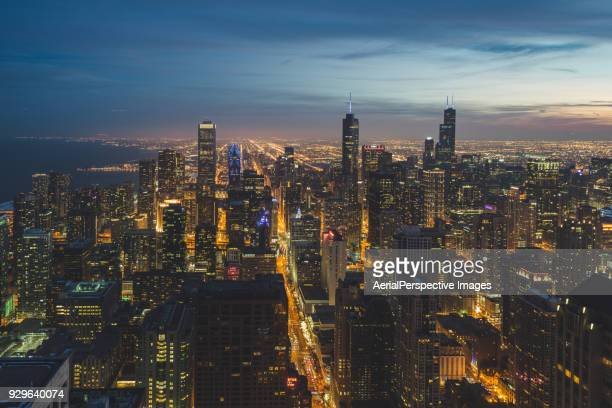 Aerial View of Chicago Skyline at Dusk
