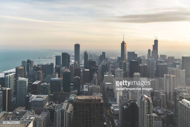 Aerial View of Chicago Skyline at Sunset