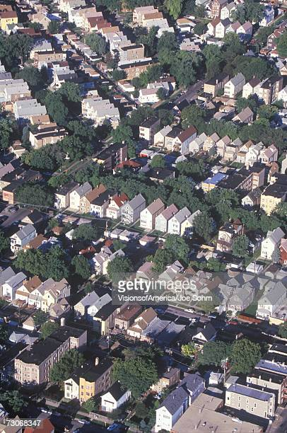 'Aerial view of Chicago suburbs, IL'