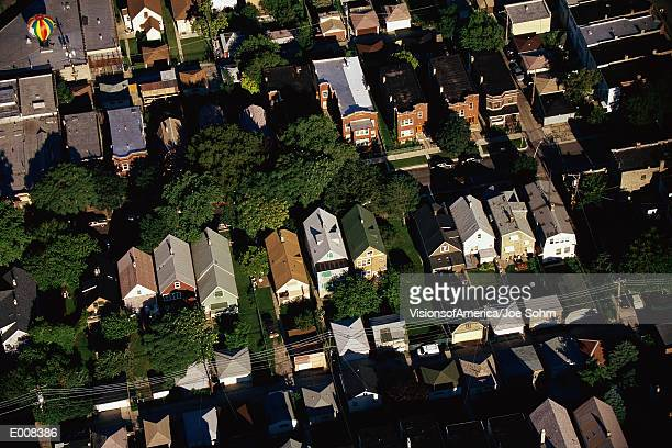 Aerial view of Chicago suburbs